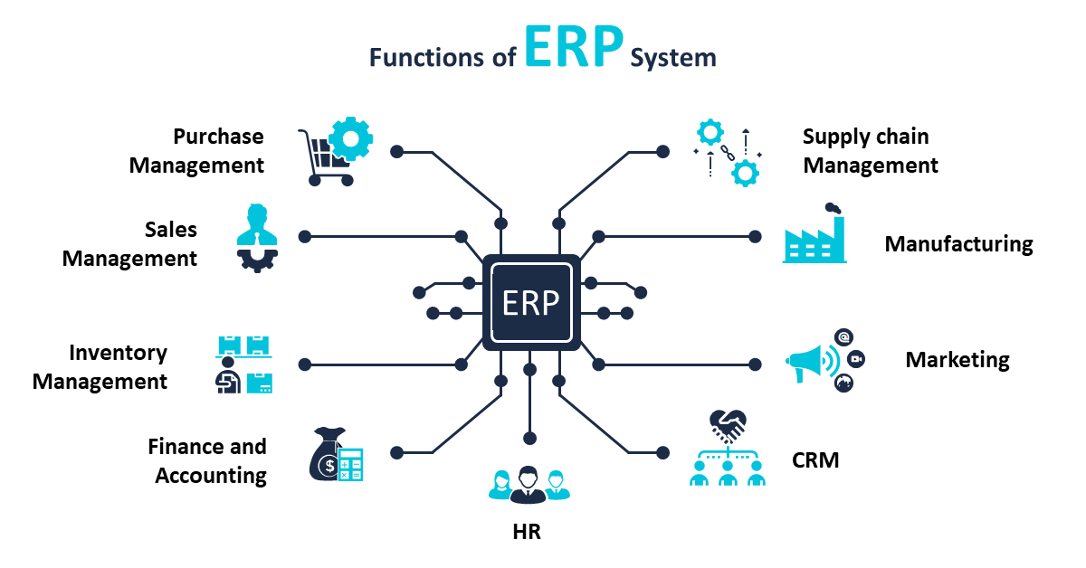 ERP System Functions - Infographics